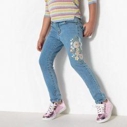 Dżinsy slim haftowane 3-12 lat. Szare jeansy dziewczęce La Redoute Collections, z haftami, z bawełny, z standardowym stanem. Za 96,98 zł.