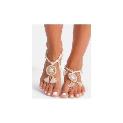 Bransoletki damskie: Jasno beżowa bransoletka na stopę Satin Tassle