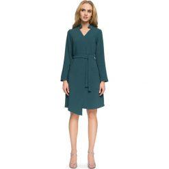 Zielona Sukienka Szmizjerka z Wiązanym Paskiem. Niebieskie sukienki asymetryczne marki ARTENGO, z elastanu, ze stójką. Za 138,90 zł.