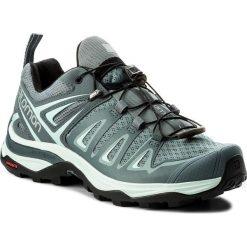 Trekkingi SALOMON - X Ultra 3 W 401669 20 V0 Lead/Stormy Weather/Canal Blue. Szare buty trekkingowe damskie marki Salomon, z gore-texu, na sznurówki, outdoorowe, gore-tex. W wyprzedaży za 369,00 zł.
