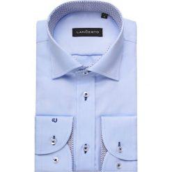 Koszula Niebieska Maia 2. Niebieskie koszule męskie na spinki marki LANCERTO, m, z haftami, z bawełny, z kontrastowym kołnierzykiem. Za 299,90 zł.