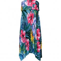 Sukienka letnia z nadrukiem w motywy dżungli bonprix niebieski w kwiaty. Niebieskie sukienki asymetryczne bonprix, na lato, w kwiaty, z asymetrycznym kołnierzem. Za 59,99 zł.
