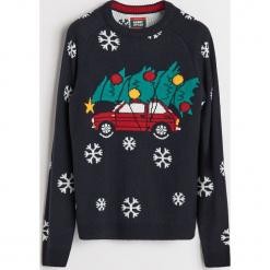 Sweter ze święcącymi lampkami - Wielobarwn. Szare swetry klasyczne męskie marki bonprix, l, melanż. Za 119,99 zł.