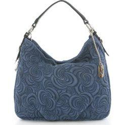 Torebki klasyczne damskie: Skórzana torebka w kolorze granatowym – 35 x 30 x 15 cm