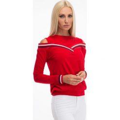 Bluzki damskie: Czerwona bluzka z odkrytymi ramionami 3649