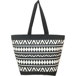 """Torba plażowa """"Ethnique"""" w kolorze czarno-białym - 35 x 58 x 23 cm. Białe torby plażowe Le Comptoir de la Plage, z tworzywa sztucznego. W wyprzedaży za 38,95 zł."""