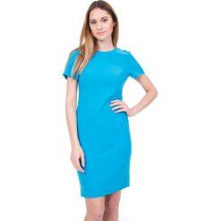 Dopasowana niebieska sukienka z rękawem 3/4 BIALCON. Niebieskie sukienki letnie marki BIALCON, na randkę, dopasowane. W wyprzedaży za 221,00 zł.