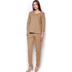 Bluzy rozpinane damskie: Beżowa Komfortowa Bluza z Rękawem 3/4 ze Złotymi Suwakami