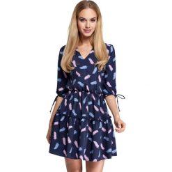Granatowa Sukienka Wzorzysta w Stylu Boho Model 3. Niebieskie sukienki boho marki Molly.pl, na co dzień, l, z tkaniny, z dekoltem w serek, oversize. Za 145,90 zł.