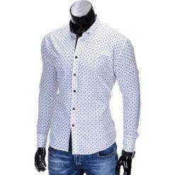 KOSZULA MĘSKA ELEGANCKA Z DŁUGIM RĘKAWEM K314 - BIAŁA. Brązowe koszule męskie marki Ombre Clothing, m, z aplikacjami, z kontrastowym kołnierzykiem, z długim rękawem. Za 69,00 zł.