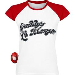 Suicide Squad Harley Quinn - Daddy's Little Monster Koszulka damska biały/czerwony. Białe bluzki z odkrytymi ramionami Suicide Squad, s, z nadrukiem, z okrągłym kołnierzem. Za 79,90 zł.
