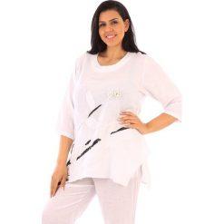 T-shirty damskie: Lniana koszulka w kolorze białym