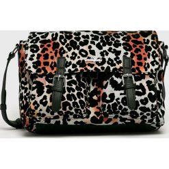 Desigual - Torebka. Czarne torebki klasyczne damskie Desigual, w paski, z bawełny, średnie. Za 299,90 zł.