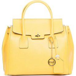 Torebki klasyczne damskie: Skórzana torebka w kolorze żółtym – 35 x 32 x 13 cm