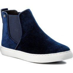 Sztyblety BIG STAR - Y274012 Navy Velvet. Niebieskie buty zimowe damskie marki BIG STAR, z materiału, retro. Za 119,00 zł.