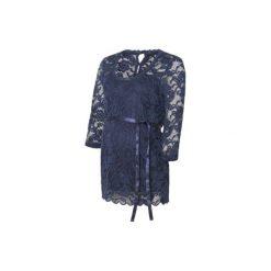 Mama licious  Koszulka dla kobiet w ciąży MLMIVANA navy blazer - niebieski - Gr.Odzież ciążowa. Niebieskia bluzki ciążowe Mama Licious, w koronkowe wzory, z bawełny, z krótkim rękawem. Za 165,00 zł.