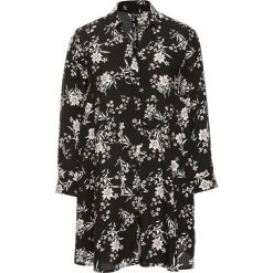 Długa bluzka poszerzana dołem bonprix czarno-biel wełny w kwiaty. Czarne bluzki asymetryczne bonprix, w kwiaty, z wełny, z dekoltem w serek, z długim rękawem. Za 74,99 zł.