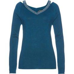 Sweter ze sztrasami bonprix niebieskozielony morski. Zielone swetry klasyczne damskie bonprix. Za 119,99 zł.