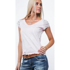 Bluzka z z ozdobnymi rękawkami jasnoróżowa ZZ1059. Czerwone bluzki asymetryczne Fasardi, l. Za 44,00 zł.