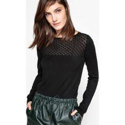 Swetry damskie: Sweter bawełniany, góra ażurowa