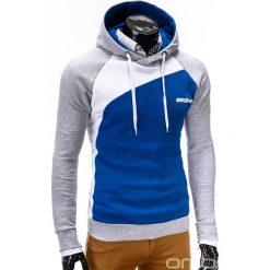 BLUZA MĘSKA Z KAPTUREM MIGUEL - NIEBIESKA. Niebieskie bluzy męskie rozpinane marki Ombre Clothing, m, w kolorowe wzory, z bawełny, z kapturem. Za 79,00 zł.