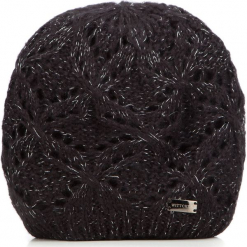 Czapka damska 87-HF-005-1. Czarne czapki zimowe damskie Wittchen, na zimę, w ażurowe wzory, z dzianiny. Za 59,00 zł.