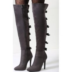 Ciemnoszare Kozaki Fashionable Sue. Szare buty zimowe damskie marki vices, na wysokim obcasie. Za 149,99 zł.