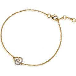 Bransoletki damskie na nogę: RABAT Bransoletka Złota - złoto żółte 585, Diament 0,09ct