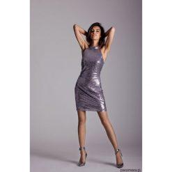 Cekinowa sukienka RIHANNA. Szare sukienki mini marki Pakamera, z dekoltem halter, dopasowane. Za 239,00 zł.