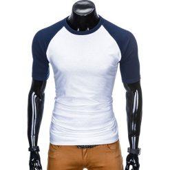 T-SHIRT MĘSKI BEZ NADRUKU S877 - BIAŁY/GRANATOWY. Zielone t-shirty męskie z nadrukiem marki Ombre Clothing, na zimę, m, z bawełny, z kapturem. Za 29,00 zł.