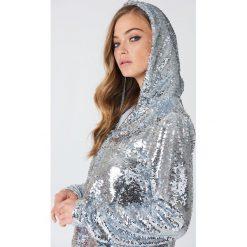 Bluzy damskie: NA-KD Trend Bluza z kapturem z cekinami – Silver