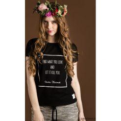 Koszulka z cytatem, Bukowski, Find . Brązowe bluzki z odkrytymi ramionami Pakamera, z nadrukiem, z krótkim rękawem. Za 89,00 zł.