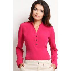 """Różowa Elegancka Koszulowa Bluzka z Dekoltem """"V"""" z Guziczkami. Czerwone bluzki koszulowe Molly.pl, l, biznesowe, z długim rękawem. Za 103,90 zł."""