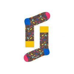 Skarpetki Happy Socks - Axe (AXE01-8000). Szare skarpetki męskie Happy Socks, w kolorowe wzory, z bawełny. Za 34,90 zł.