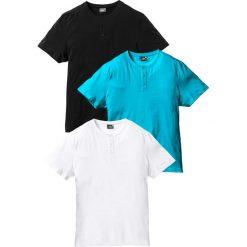 T-shirt (3 szt.) bonprix biały + turkusowy + czarny. Białe t-shirty męskie bonprix, l. Za 98,97 zł.