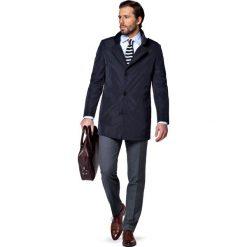 Płaszcz Granatowy Merano. Niebieskie płaszcze na zamek męskie marki LANCERTO, m, z tkaniny, casualowe. W wyprzedaży za 299,90 zł.