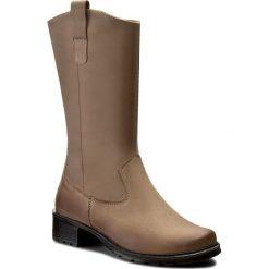Kozaki ŁUKBUT - 689 Beż. Brązowe buty zimowe damskie marki Łukbut, z nubiku, na obcasie. W wyprzedaży za 229,00 zł.
