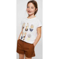 Mango Kids - Top dziecięcy Cactis 110-164 cm. Szare bluzki dziewczęce Mango Kids, z nadrukiem, z bawełny, z okrągłym kołnierzem. W wyprzedaży za 39,90 zł.
