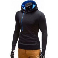 BLUZA MĘSKA Z KAPTUREM I NADRUKIEM DENIS - CZARNY Z TURKUSEM. Czarne bluzy męskie rozpinane marki Ombre Clothing, m, z nadrukiem, z bawełny, z krótkim rękawem, krótkie, z kapturem. Za 79,00 zł.
