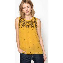 Bluzy rozpinane damskie: Bluza haftowana, bez rękawów