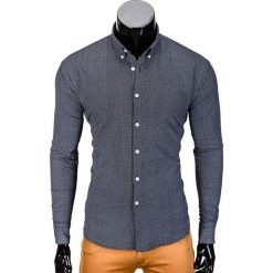KOSZULA MĘSKA Z DŁUGIM RĘKAWEM K392 - GRAFITOWA. Brązowe koszule męskie na spinki marki Ombre Clothing, m, z aplikacjami, z kontrastowym kołnierzykiem, z długim rękawem. Za 49,00 zł.