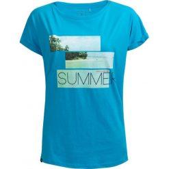T-shirt damski TSD627 - turkus - Outhorn. Brązowe t-shirty damskie Outhorn, z nadrukiem, z bawełny. W wyprzedaży za 24,99 zł.