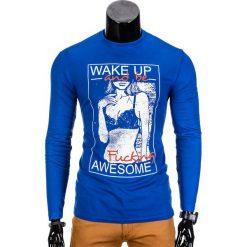 T-shirty męskie: LONGSLEEVE MĘSKI Z NADRUKIEM L98 – NIEBIESKI