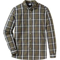 Koszula w kratę Regular Fit bonprix ciemnooliwkowo-ciemnoniebieski w kratę. Białe koszule męskie marki bonprix, z klasycznym kołnierzykiem, z długim rękawem. Za 37,99 zł.