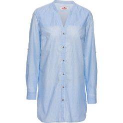 Bluzki damskie: Długa bluzka koszulowa, długi rękaw bonprix biało-perłowy niebieski w paski