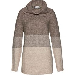 Sweter z golfem bonprix brązowo-kamienisto-naturalny. Szare golfy damskie bonprix. Za 109,99 zł.