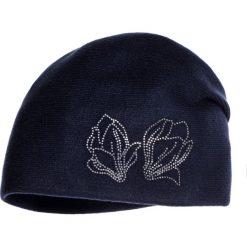 Czapki zimowe damskie: Granatowa czapka z drobnymi cyrkoniami QUIOSQUE