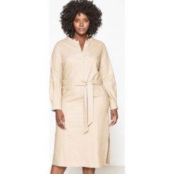 Długie sukienki: Lniana sukienka z paskiem