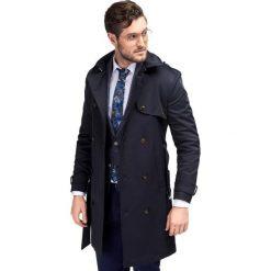Płaszcz ALVARO PSGS000057. Niebieskie płaszcze na zamek męskie Giacomo Conti, m, z bawełny, klasyczne. Za 899,00 zł.