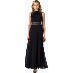 VM - Damska sukienka wieczorowa, niebieski. Niebieskie sukienki boho VM, w koronkowe wzory, z koronki, z dekoltem na plecach. Za 949,95 zł.